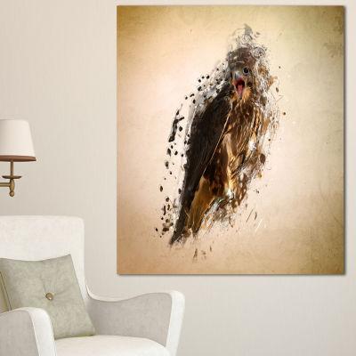 Designart Abstract Falcon In Flight Animal CanvasWall Art 3 Panels