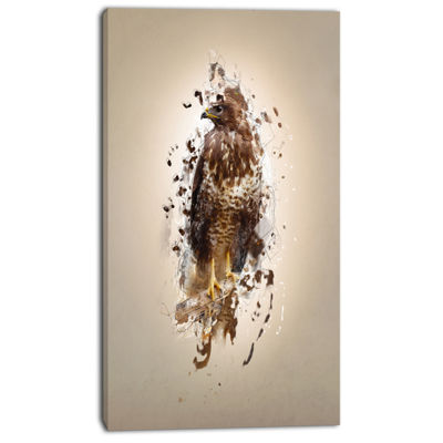Designart Abstract Falcon On Branch Animal CanvasWall Art