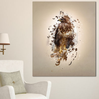 Designart Abstract Falcon On Branch Animal CanvasWall Art 3 Panels
