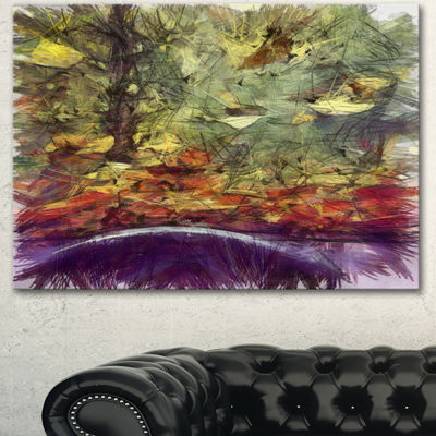 Designart Abstract Fall Watercolor Drawing Landscape Canvas Wall Art