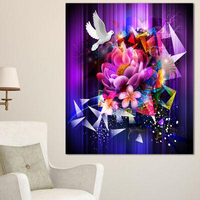 Designart Abstract Floral Design With Dove FloralCanvas Art Print