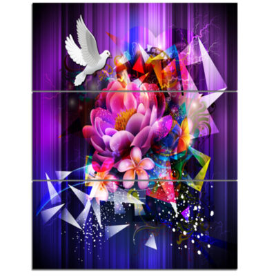Design Art Abstract Floral Design With Dove FloralCanvas Art Print 3 Panels