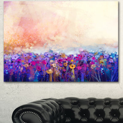 Designart Abstract Flower Watercolor Painting Large Floral Canvas Art Print 3 Panels