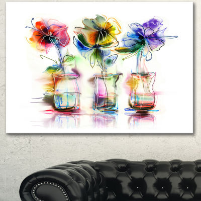 Designart Abstract Flowers In Glass Vases Extra Large Floral Wall Art