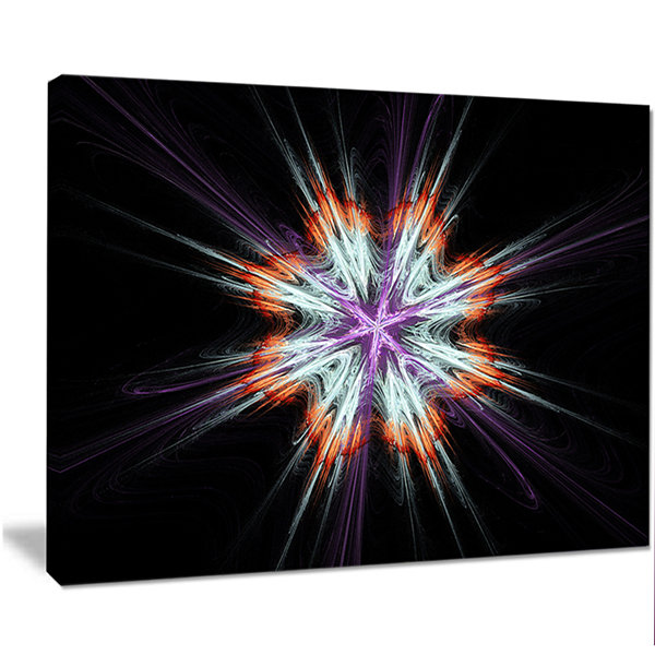 Designart Abstract Flowers On Black Background Flower Artwork On Canvas