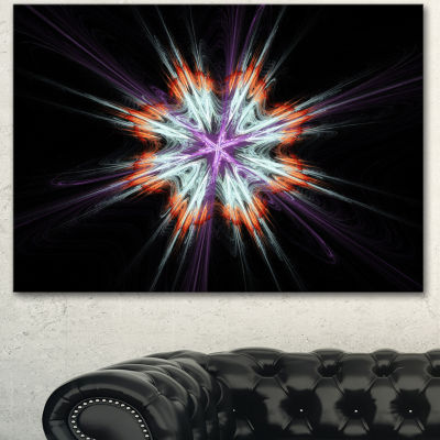 Designart Abstract Flowers On Black Background Flower Artwork On Canvas  3 Panels