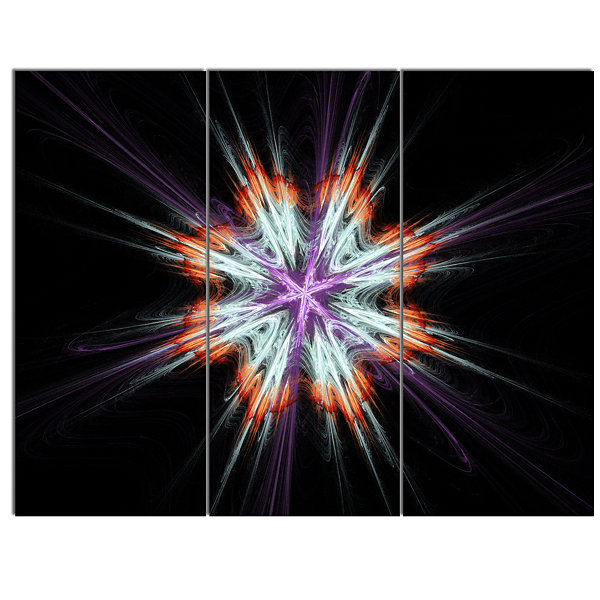 Design Art Abstract Flowers On Black Background Flower Artwork On Canvas 3 Panels
