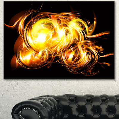 Designart Abstract Fractal Fire On Black Large Abstract Canvas Wall Art 3 Panels