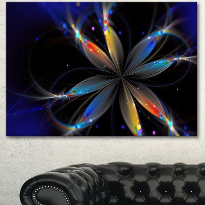 Designart Abstract Fractal Flower On Black FloralCanvas Art Print