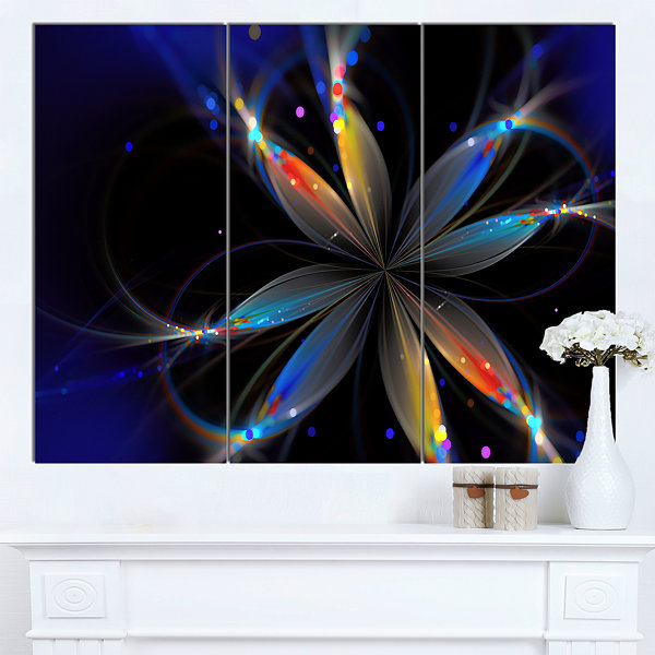 Designart Abstract Fractal Flower On Black FloralCanvas Art Print 3 Panels