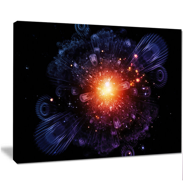 Designart Abstract Fractal Gears And Lights Flowers Canvas Wall Artwork