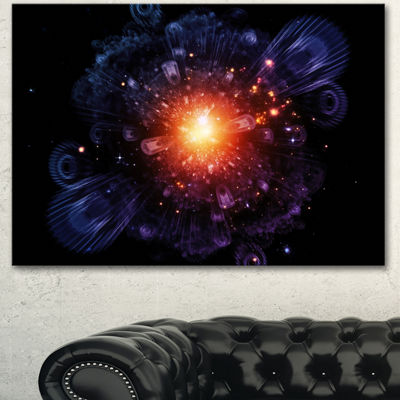 Designart Abstract Fractal Gears And Lights Flowers Canvas Wall Artwork 3 Panels