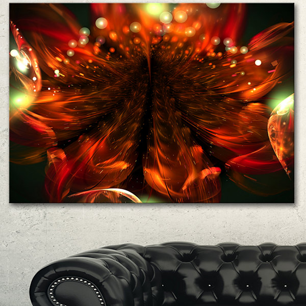 Designart Abstract Fractal Orange Flower Floral Canvas Art Print 3 Panels