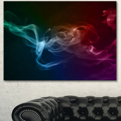Designart Abstract Fractal Smoke Waves Large Abstract Canvas Wall Art