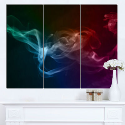 Designart Abstract Fractal Smoke Waves Large Abstract Canvas Wall Art 3 Panels