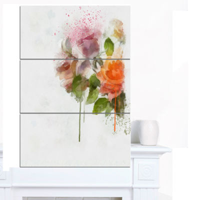 Designart Abstract Hand Drawn Flowers Sketch Flowers Canvas Wall Artwork 3 Panels