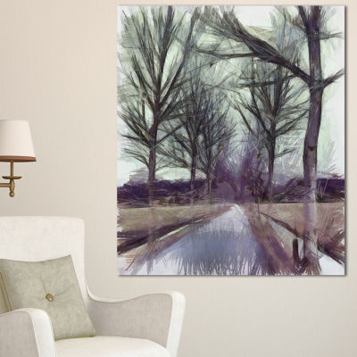 Design Art Abstract Nature Watercolor Sketch LargeLandscape Canvas Art