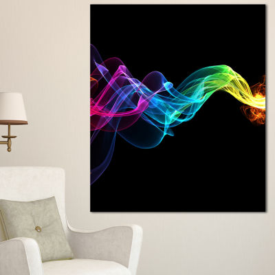 Designart Abstract Ribbon Waves On Black AbstractCanvas Wall Art Print