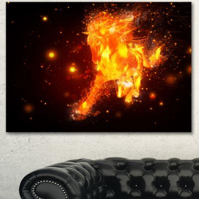 Designart Abstract Running Fire Horse Animal Canvas Art Print 3 Panels