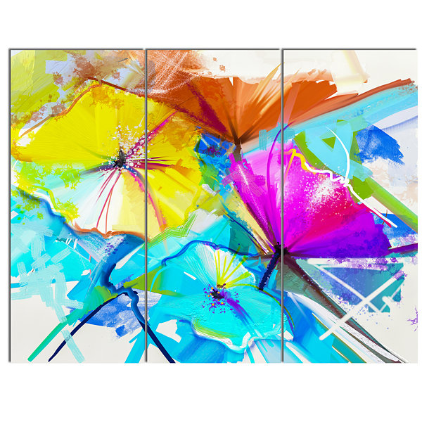 Designart Abstract Spring Flowers Still Life ExtraLarge Floral Wall Art 3 Panels