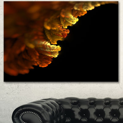 Design Art Abstract Yellow Flower On Black Extra Large Floral Wall Art 3 Panels