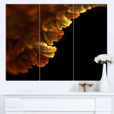 Designart Abstract Yellow Flower On Black Extra Large Floral Wall Art  3 Panels