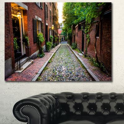 Designart Acorn Street Massachusetts Landscape Canvas Art Print 3 Panels
