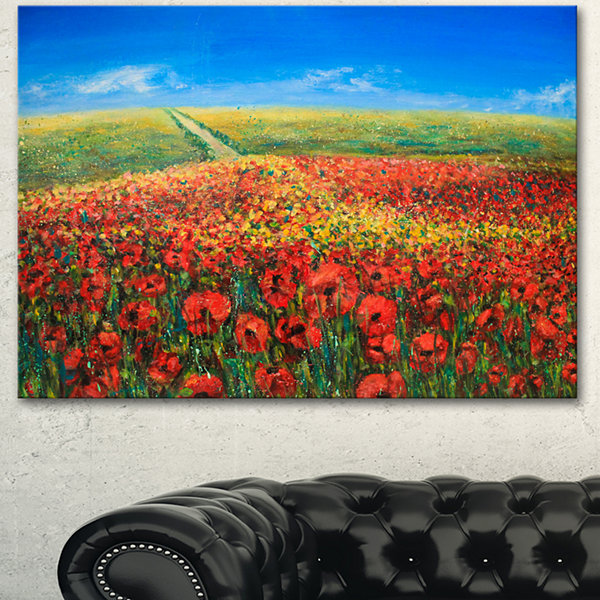 Designart Acrylic Landscape With Red Flowers ExtraLarge Floral Wall Art
