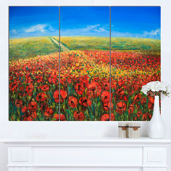 Designart Acrylic Landscape With Red Flowers ExtraLarge Floral Wall Art 3 Panels