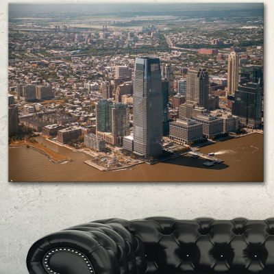 Designart Aerial View Of City From Helicopter Large Cityscape Canvas Art Print 3 Panels