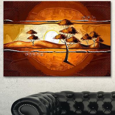 Design Art African Motive Art Watercolor Modern Landscape Wall Art Canvas