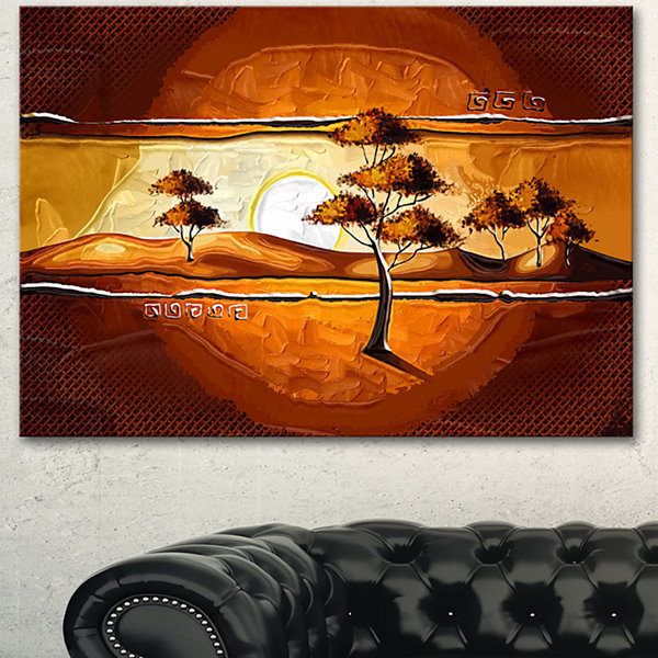 Designart African Motive Art Watercolor Modern Landscape Wall Art Canvas 3 Panels