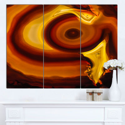 Designart Agate Geode Slice Macro Abstract CanvasWall Art Print 3 Panels