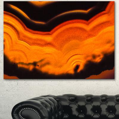 Designart Agate Macro Orange Abstract Canvas WallArt Print 3 Panels