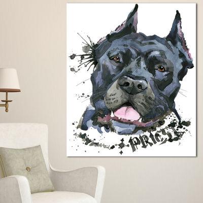 Designart Aggressive Black Dog Illustration AnimalCanvas Wall Art