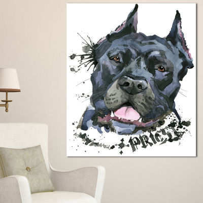Designart Aggressive Black Dog Illustration AnimalCanvas Wall Art 3 Panels
