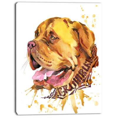 Designart Aggressive Brown Dog Watercolor AnimalCanvas Wall Art