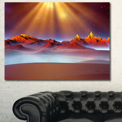 Designart Alien Landscape At Sunset Landscape Canvas Art Print 3 Panels