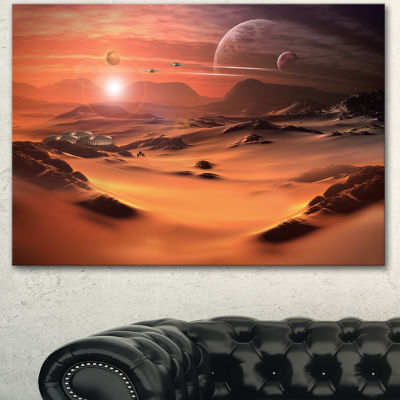 Designart Alien Planet 3D Rendered Computer Art Landscape Canvas Art Print 3 Panels