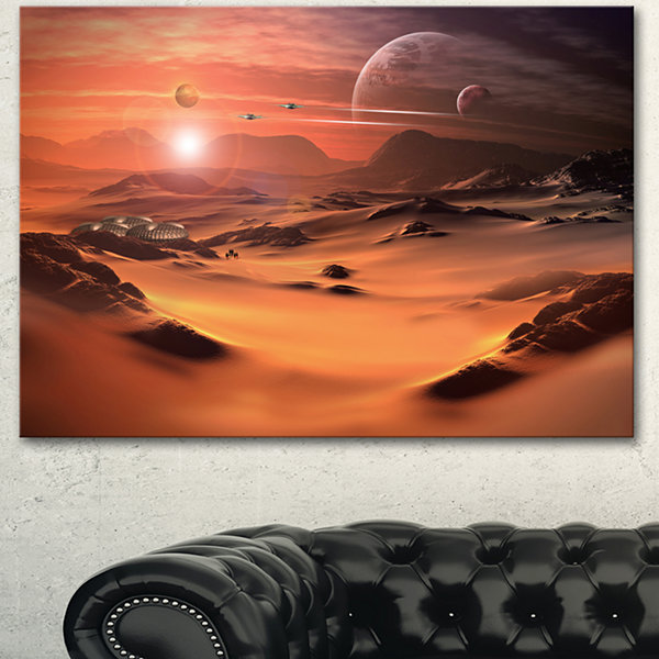 Design Art Alien Planet 3D Rendered Computer Art Landscape Canvas Art Print 3 Panels