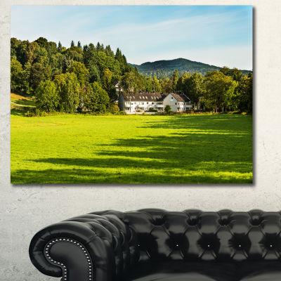 Designart Alone Farmhouse In Meadow Landscape Canvas Art Print