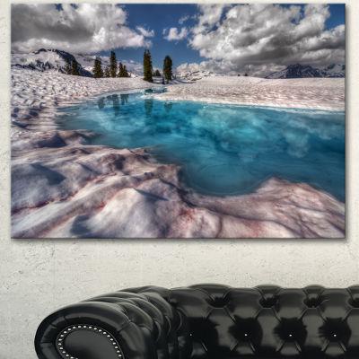 Designart Amazing Blue Melt Lake In Fog Large Landscape Canvas Art Print 3 Panels