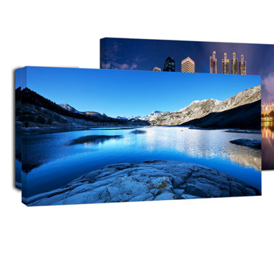 Designart Amazing Blue Mountains Lake Modern Landscape Canvas Art