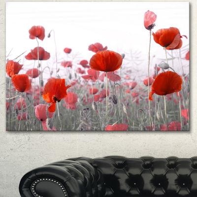 Designart Amazing Red Poppy Flower Garden FlowerArtwork On Canvas