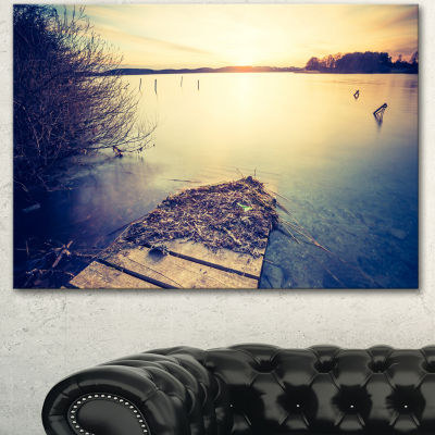 Designart Amazing Sunset Over Clam Lake LandscapeCanvas Art Print 3 Panels
