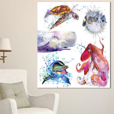 Designart Amazing Undersea Life Collage Contemporary Animal Art Canvas