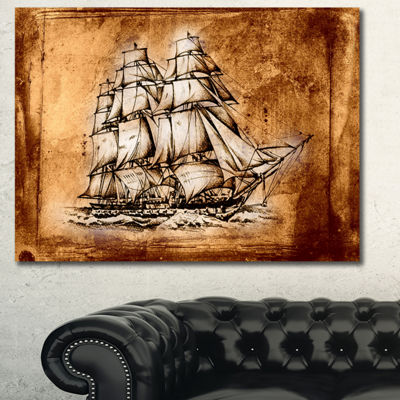 Designart Ancient Sailboat Drawing Seashore WallArt On Canvas 3 Panels