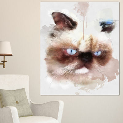 Designart Angry Brown Watercolor Cat Sketch AnimalCanvas Art Print