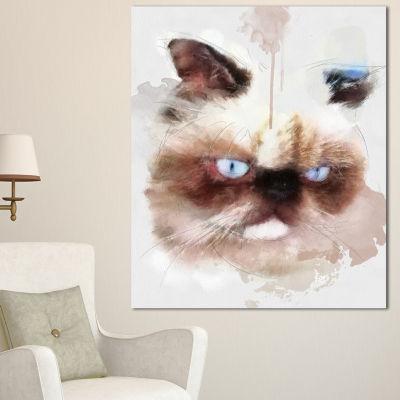Design Art Angry Brown Watercolor Cat Sketch AnimalCanvas Art Print 3 Panels
