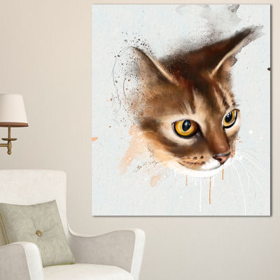 Designart Anxious Brown Cat Watercolor Sketch Large Animal Canvas Artwork 3 Panels